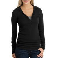 District Threads® - Junior Ladies Long Sleeve Thermal Henley Hoodie