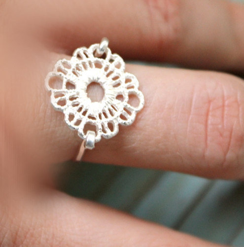 Lace silver ring sterling silver base - custom size
