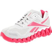 Reebok Women`s Zig Flow Running Shoe,Suede/Steel/Pink/White,7 M US