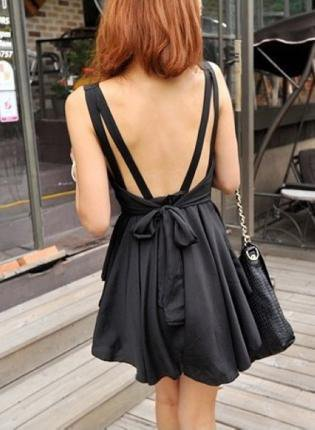 Backless Bowknot Irregular Hem Dress