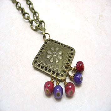 Antique Brass Square Pendant Necklace