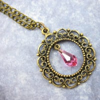 Pink Crystal Filigree Necklace, Antique Brass