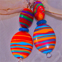 Multi colored striped Turkish gemstone earrings