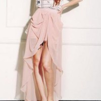 Pink Asymmetric High-Waist Pleated Skirt