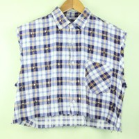 Dark Blue Plaid Customised Cut Off Shirt | One