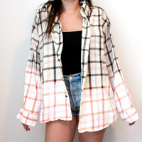 Bleached Flannel Shirt - Pink &amp; Brown
