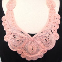 Statement necklace peach necklace lace necklace ribbon necklace bib necklace lacy necklace applique necklace-Peaches And Cream Necklace