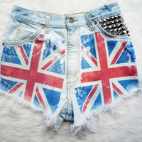 "Union Jack Flag Vintage High Waist Levis, Studded Cut Off Denim Shorts - ""God Save The Queen"""