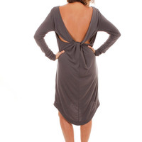 CIJ SALE 70% OFF Backless Dress, long sleeve dress, gray dress with open back