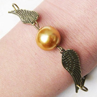 Harry Potter Golden Snitch bracelet, with silver double side wings-antique brass