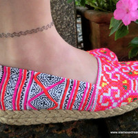Colorful Hmong Embroidered &amp; Batik Womens Vegan Loafers Shoes
