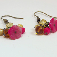 Bouquet Red Glass Flower and Mixed Color Glass Rounds Beaded Dangle Earrings
