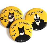 Batman Buttons Pinback Team Catwoman Bane Yellow Geek Accessories
