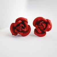 Red Rose Earrings Classic Crimson Romantic Floral Stud Post