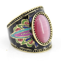 Special Gold-tone Black Bohemian Pink Cat-eye Stone Ring,Size 6