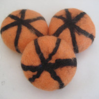 SALE Halloween soaps felted pumpkin, set of 3. Soap, scrub and sponge in 1.