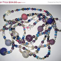 "SALE Felt long necklace earrings. Violet purple blue white shades ""Summer breeze"". Felt balls jewelry. Under 35 dollars."