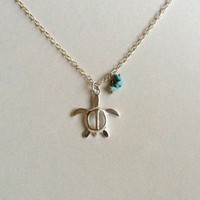 Sea Turtle Necklace in Sterling Silver, Turquoise Rondelles, Lucky Charm, Honu Charm
