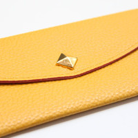 Mustard Yellow Leather wallet with golden pyramid