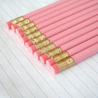 12 imperfect pastel pink pencils. plain pencils for test taking, essay writing, diary entries, and doodling...