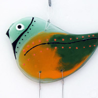 Fused Glass Bird Windchime, Suncatcher, multicolored  Summer Collection.