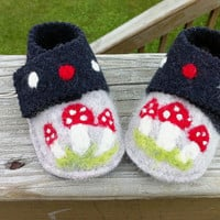 Woodland needle felted toadstool soft baby shoes