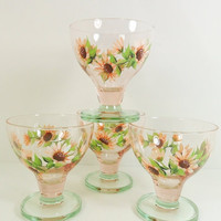 Dessert Bowls Hand Painted Orange Sherbet Daisy Flower Designs - Set of 4