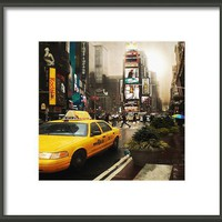 Yelow Cab New York Framed Print By Yanieck Mariani