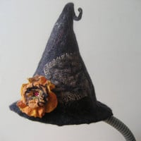 SALE Halloween witch hat sauna cap black felted with felt wool flower rose orange brooch