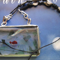 Handmade Day at the Aquarium Sterling and Glass Pendant on Etsy Metal Jewelry