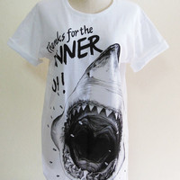 Shark Shirt Shark Week Fish Head Animal -- Animal T-Shirt Women T-Shirt Men T-Shirt Animal Tee Shirt White T-Shirt Size S, M