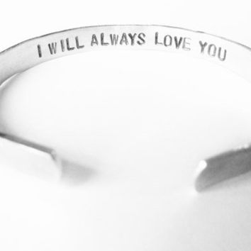 Personalized Bracelet Secret Message Womens Gift - I will always love you - for her girlfriend friend mom mother daughter wife