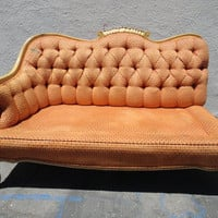 French Vintage One Arm Settee Sofa with Orange Chenille Fabric (Los Angeles)