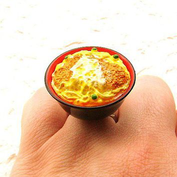 Kawaii Cute Japanese Ring Bowl Of Rice With Toppings Miniature Food Jewelry