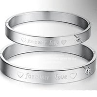 Buy matching his and hers friendship couple bracelet sets at sale price - Gullei - - anti allergic couple bracelet Forever love hearts engraved