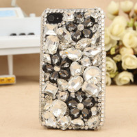 Gullei Trustmart : Apple iPhone 3GS 4S 4G iPod Touch 4G Shiny Crystals Black Flower Back Cover [GTMSP0128] - $44.00-Couple Gifts, Cool USB Drives, Stylish iPad/iPod/iPhone Cases &amp; Home Decor Ideas