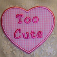 Pink gingham Valentine heart too cute iron on patch