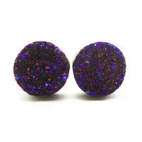 Cobalt Blue Flame Druzy Stud Earrings n.70