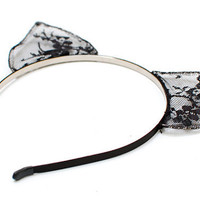 Cat Ears Black Lace Headband - Nine Lives collection