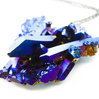 Titanium Quartz Cobalt Blue  Druzy Crystal Cluster Aura Rainbow Necklace SPACESHIP