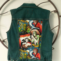 Denim Vest - Vintage Horror Classic Monsters