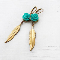 Gold Feather Earrings Turquoise Rose Earrings Boho Flower Earrings Long Feather Earrings Bohemian Earrings Autumn Southwest - Sophia