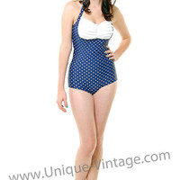 Ruffle Navy And White Polka Dot One Piece Swimsuit Sizes XS-2X