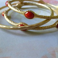 Coral Red Stone Bangle Set Gold