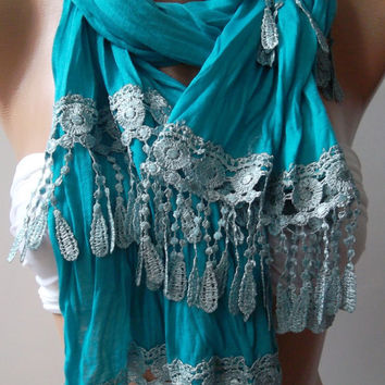 Turquoise  Blue --- and Elegance Shawl / Scarf---