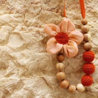 Orange Flower Breastfeeding Necklace/Crochet Fabric Necklace for mom Nursing necklac /Teething necklace (Natural materials: cotton, wood)