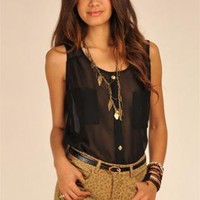 Black Sleeveless Mesh Tank with Faux Button Up Front