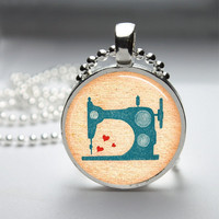 Round Glass Bezel Pendant Vintage Sewing Machine Pendant Sewing Machine Necklace Photo Pendant Art Pendant With Silver Ball Chain (A3911)