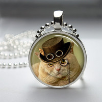 Round Glass Pendant Bezel Pendant Cat Pendant Steampunk Cat Necklace Photo Pendant Art Pendant With Silver Ball Chain (A3912)