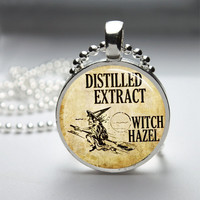Glass Pendant Bezel Pendant Witch Pendant Witch Hazel Necklace Photo Pendant Art Pendant With Ball Chain (A3913)